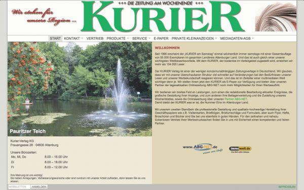 Kurier Verlag - Internetauftritt Kurier Verlag Altenburg KG
